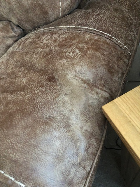Westbridge, Aniline leather wax candle spillage removal on armchair, after