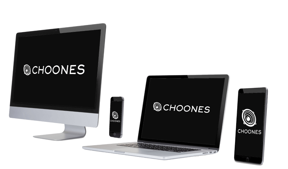 Choones logo surrounded by devices supported by cloud sync