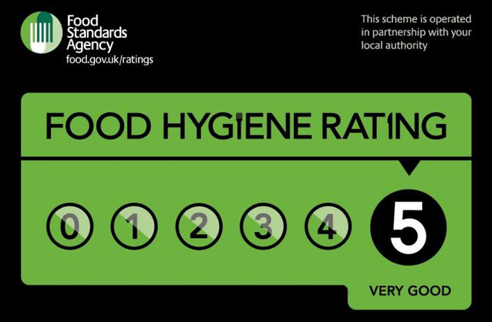 5 out of 5 rated Food Hygiene Rating