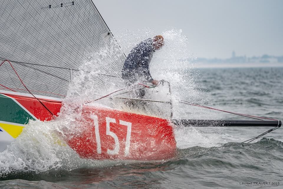 Jorg Riechers on the bow of Owen Clarke designed No.157 Class 40 Open racing yacht at the start of the Normandy Channel Race