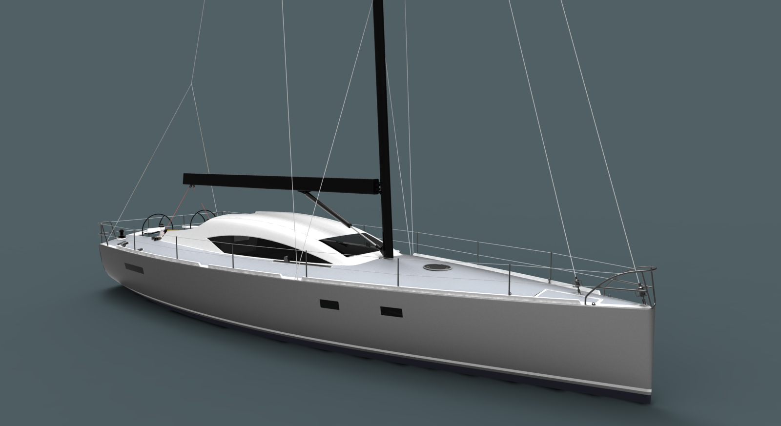This is an Owen Clarke 15m custom blue water performance cruising yacht design with lifting keel for comfortable trans ocean sailing. This yacht is suitable for construction in either aluminium alloy or composite materials