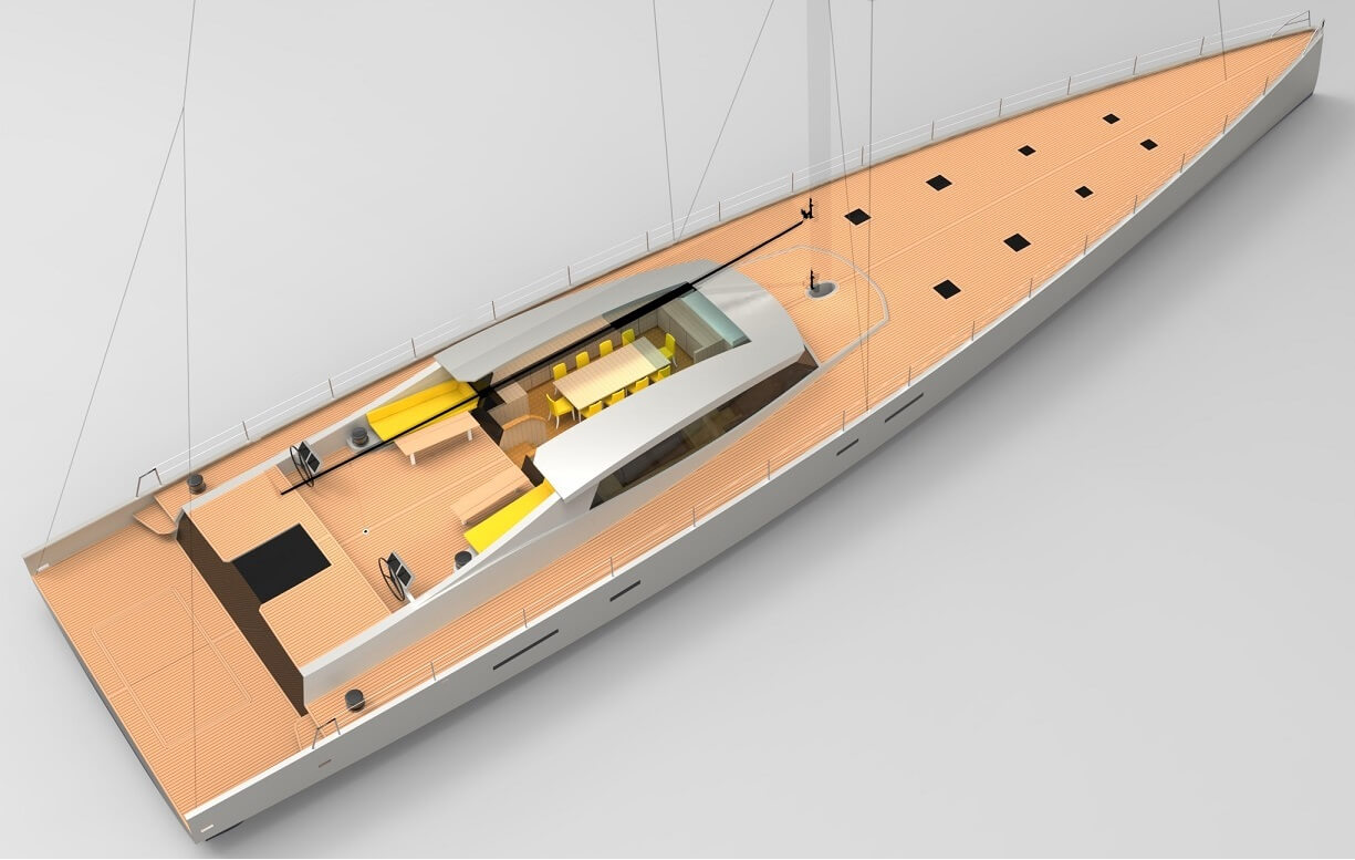 Designers, Owen Clarke Design have created this large lifting keel performance blue water cruiser with long distance family ocean cruising in mind. The aft deck terrace provides a safe area in the stern of the yacht for children's play or for the owners to relax.