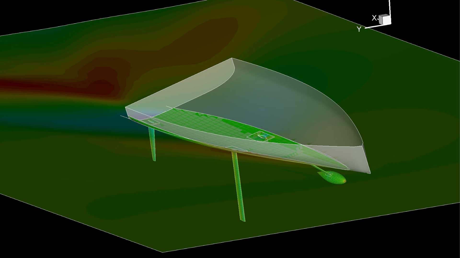 This a screen grab image of CFD (computational fluid dynamics) analysis being undertaken on a pre-lifting foils Owen Clarke IMOCA Open 60 design.