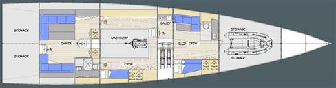 This is the interior design layout of a custom 77' Mediterranean day sailing superyacht with a canting keel and twin rudders. Owen Clarke Design are leaders in the design of canting keel and twin rudder performance cruising and racing yachts. We've been creating leading edge, innovative, monohull yacht designs since 1993.