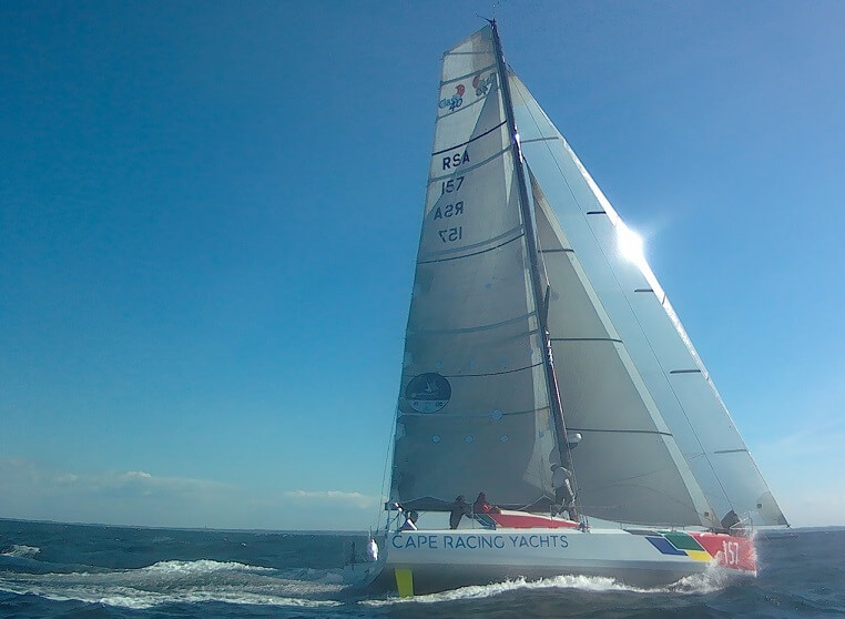 This is the OCD (Owen Clarke Design) latest Class 40 Open sailboat design, Cape Racing Yachts seen at the start of the Normandy Channel Race 2019 in which she finished third