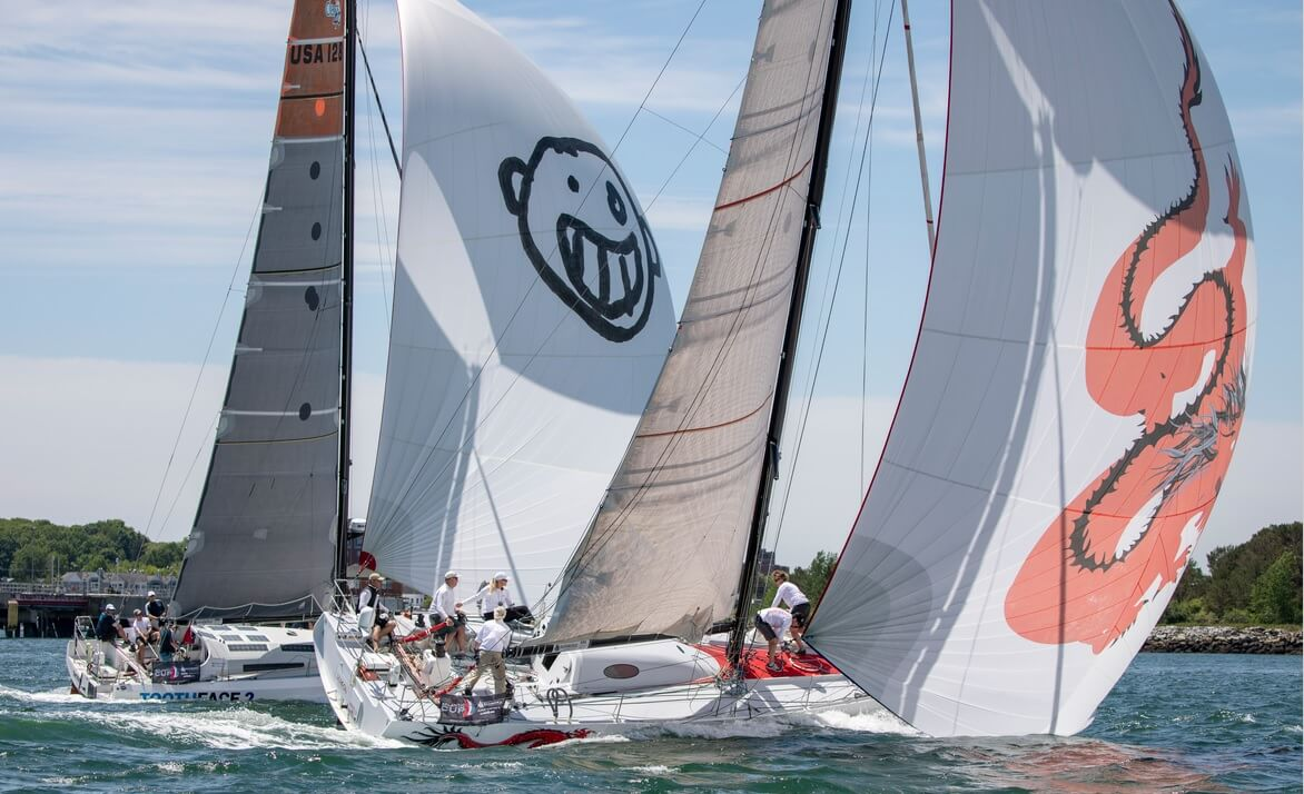 The Owen Clarke Design Class 40 Open Dragon taking part in the inshore racing of the Atlantic Cup in Portland Maine, USA