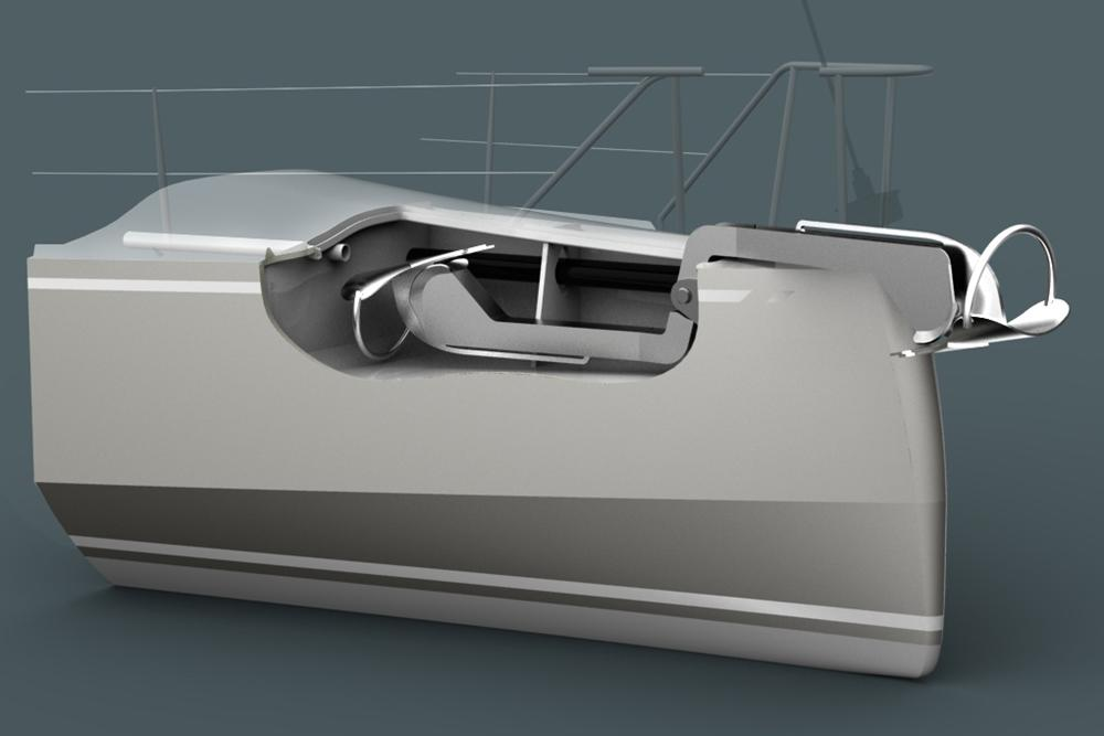 Mechanical pivoting yacht anchor launch system and under deck stowage on a custom designed performance blue water cruising sailboat by Owen Clarke Design