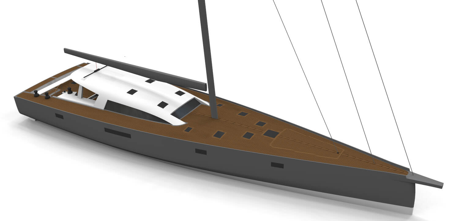 """Owen Clarke Design (OC) yacht designers created this custom carbon / foam composite short-handed design for a Scandinavian client looking for a fast adventure sailing yacht. His brief was that he wanted: """"A lifting keel, performance blue water cruising sailboat for long distance, short-handed cruising adventures with the family."""