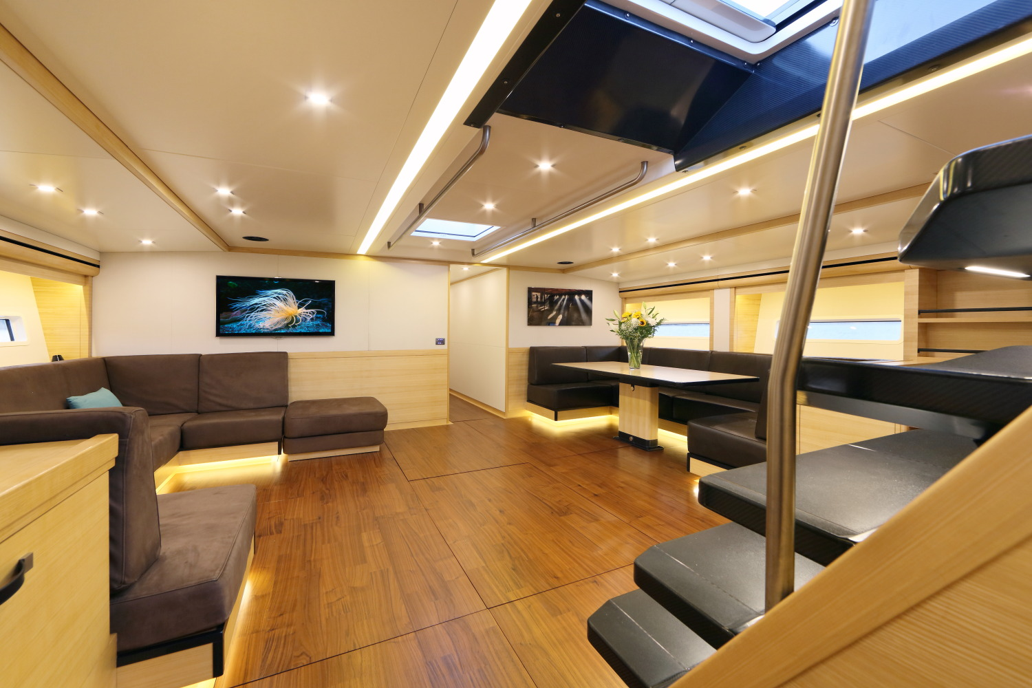 This is a 3D photo-realistic rendering of the interior design the main cabin of Owen Clarke Design's 77' Mediterranean Day Sailer. Using the Magic Trim system the sailplan and deck layout is optimised to allow this large yacht to be sailed solo.