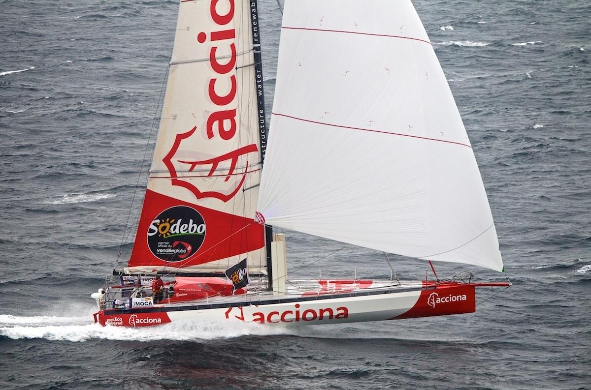 Photograph of  IMOCA Open 60 design Acciona, designers are UK racing yacht designers Owen Clarke Design