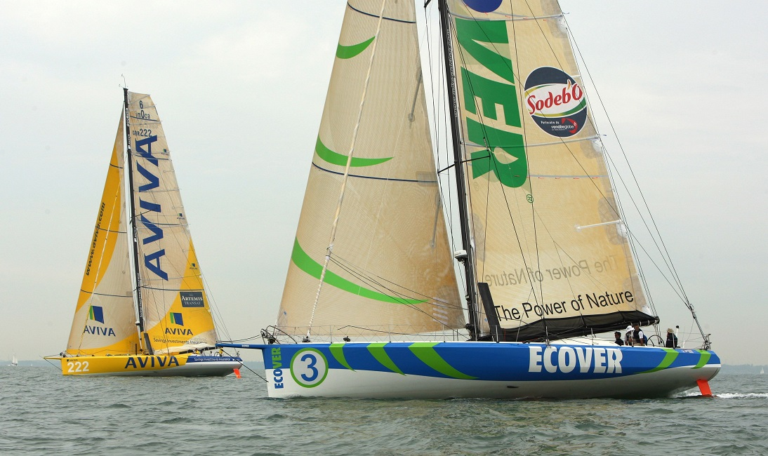 These are two OC IMOCA Open 60 racing boats, sisterships, both fitted with interceptor plates. They were the first sailing yachts to be fitted with interceptors and the purpose is to act as trim tabs, reducing drag at high speed, a prime racing yacht design goal.