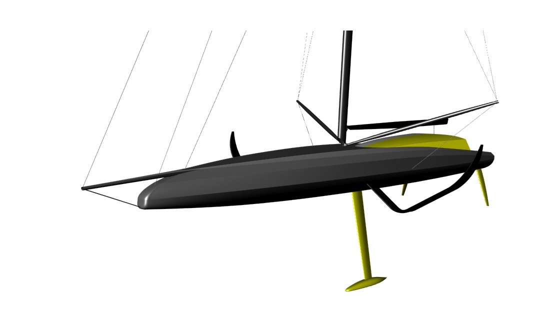 This is a 3D CAD image of a foiling IMOCA Open 60 racing yacht developed by our designers with fully lifting foils. It forms part of systematic series of hull and foil design geometries for what will be Owen Clarke's ninth IMOCA 60. She is a fully foiling racing monohull with second generation fully lifting carbon fibre foils.