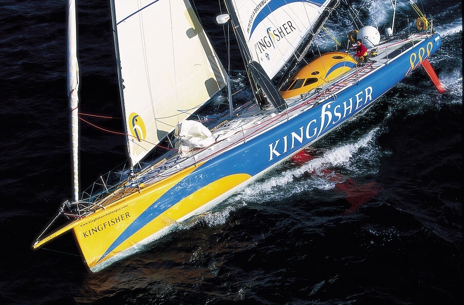 Kingfisher was Owen Clarke Design's first IMOCA 60 racing yacht design, skippered by Ellen Macrthur in the 2000 Vendee Globe