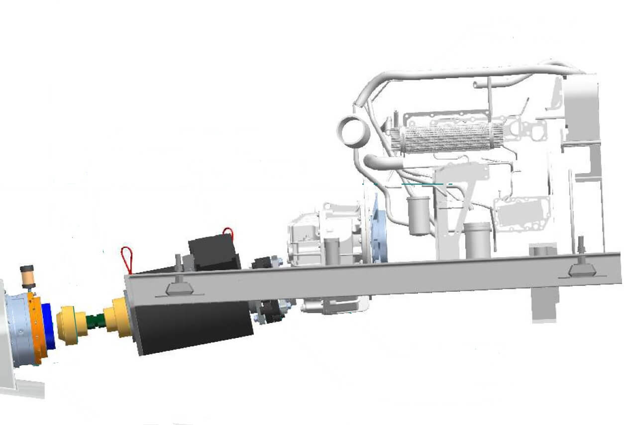 The is a 3D graphic of the propulsion system in Owen Clarke's 25m motor sailer design. It incorporates twin diesel/electric hybrid drives to reduce emissions and allow silent zero emission propulsion up to a maximum of 6 knots and a conventional motoring speed in excess of 10 knots. In the near future, complete zero emission operation will be possible using hydrogen fuel cells/electric drive. It's illustrative of our constant drive for innovation and the emphasis we place on a high level of mechanical engineering competence in both the design and build of our yachts.