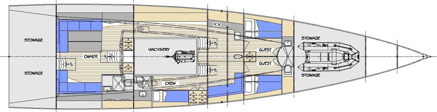 This is the interior design layout of a custom 77' Mediterranean day sailing superyacht with a canting keel and twin rudders. Owen Clarke Design are leaders in the design of canting keel and twin rudder performance cruising and racing yacht design. We've been creating leading edge, innovative, monohull yacht designs since 1993.