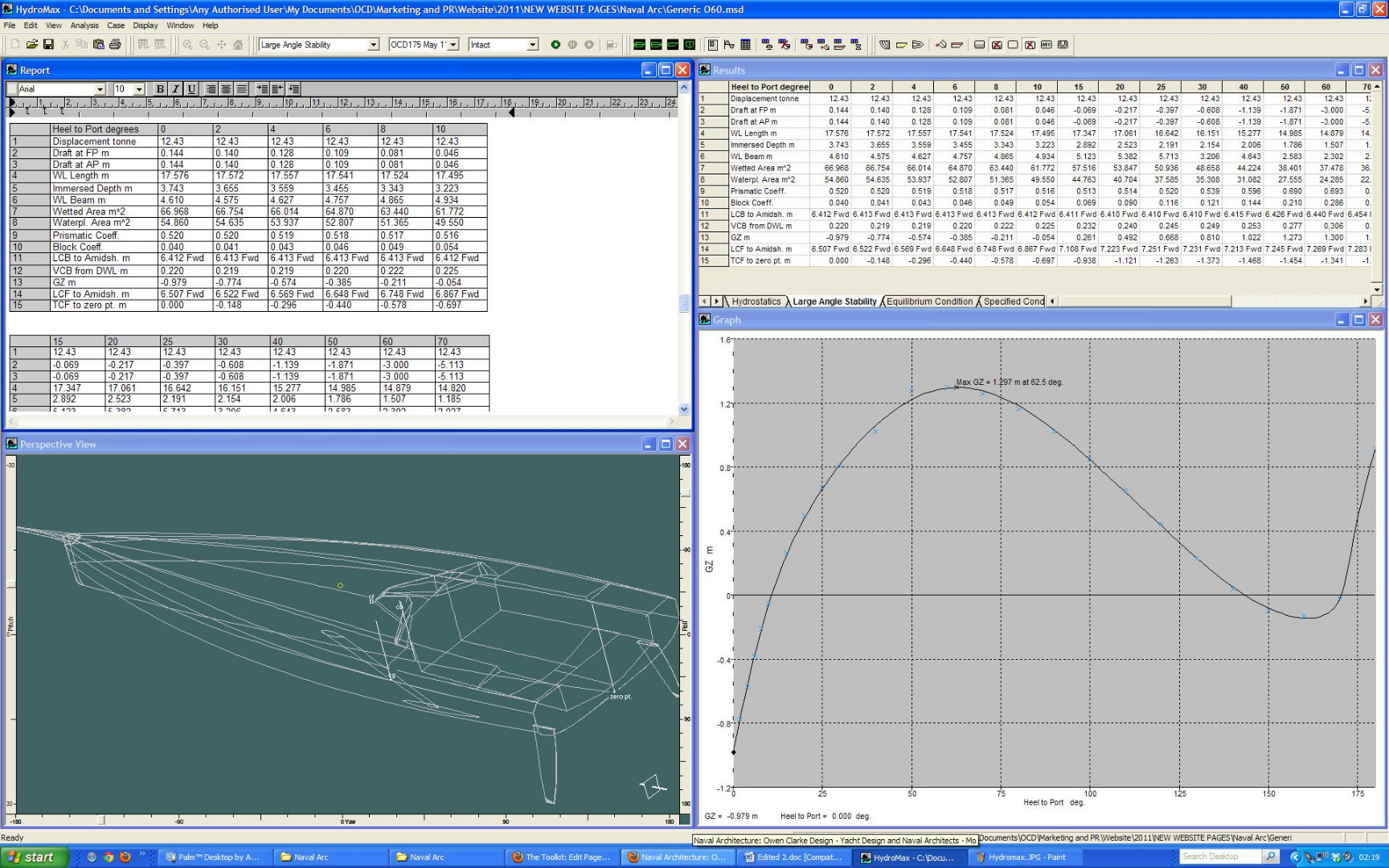 Hydromax is a naval architecture design software that enables a naval architect to undertake large angle stability calculations of motor and sailing yachts. These calculations are most commonly used to input data into a yacht VPP, fulfil the requirements of the RCD and calculate the information required to produce an MCA stability book. This includes calculation of intact stability, damage stability, tank flooding and where applicable allowance for the effects of ice accretion, the build up of ice on explorer and expedition yachts.