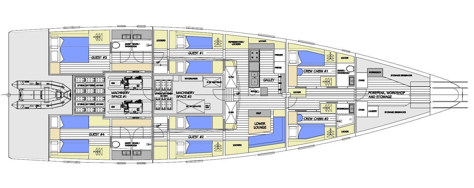 This is the general arrangement drawing showing the interior design for an ice strengthened 25m high latitude motor sailer which began life as a project for a scientific organisation to study climate change and conservation in the polar regions. A considerable amount of preliminary design has already been undertaken including into hybrid drive propulsion and other systems. This project has been fully costed by several yards and the design would transform easily into either a commercial expedition charter vessel or a private explorer yacht.