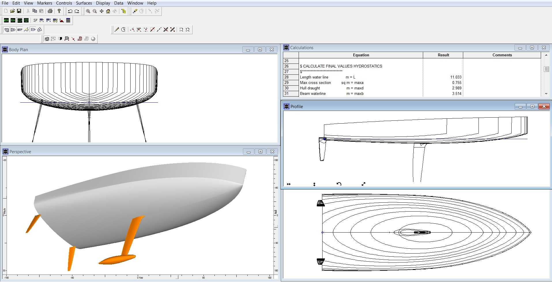 Naval architecture is the science of yacht design and sailors associate that with the development of a sailboat's hull lines. This screen shot shows basic hydrostatic calculations and the plan, profile, section and perspective view of a Class 40 with a scow bow. Naval Architects, Owen Clarke Design have been using this Maxsurf software for over thirty years to develop racing yacht hull and appendage files.