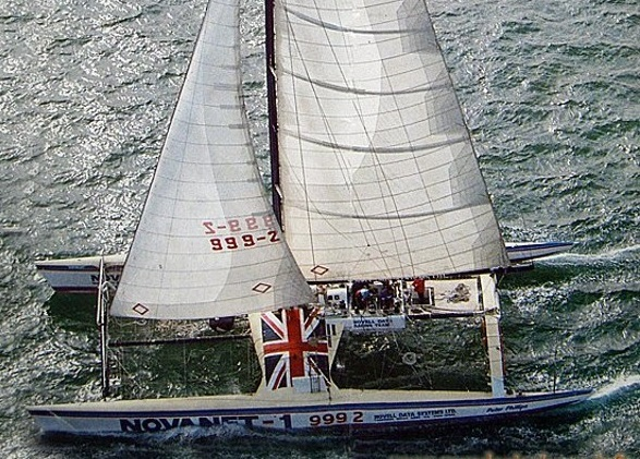 Novanet was an 85' maxi racing catamaran design by John Shuttleworth. In 1985 yacht designer Merfyn Owen raced her as navigator at the age of 22 in the UAP Round Europe Race