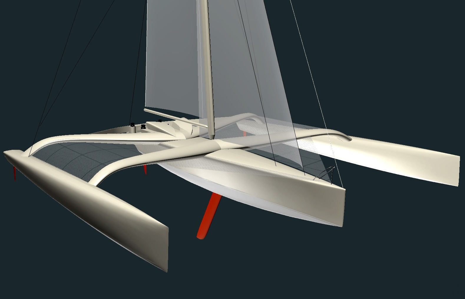 This is the preliminary engineering drawing for the main hull of a Multi 50 racing trimaran by Owen Clarke Design. OC are better known as designers of racing monohulls but began their design career in the multihull world and are supporters and fans of the Multi50 Class.