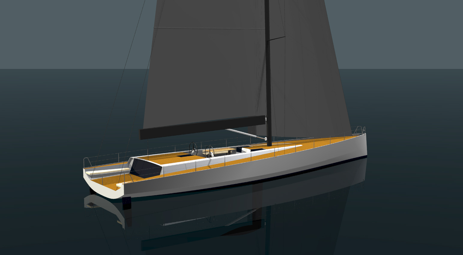 This is a 77' daysailer design from Owen Clarke Design who have over twenty five years experience implementing best design practice for cruising and racing yachts with twin rudder steering systems. Since designing the 30' ULDB Maverick in 1993 we have created over fifty twin rudder sailboat designs and along the way tank tested more than twenty hull and appendage configurations in model towing tanks.