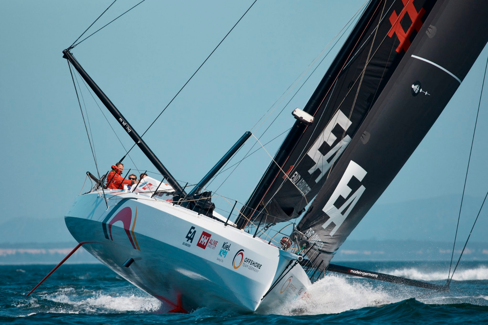 This is the canting keel non foiling Offshore Team Germany (ex Acciona) IMOCA Open 60 by designers Owen Clarke Design taking part in the Ocean Race Europe