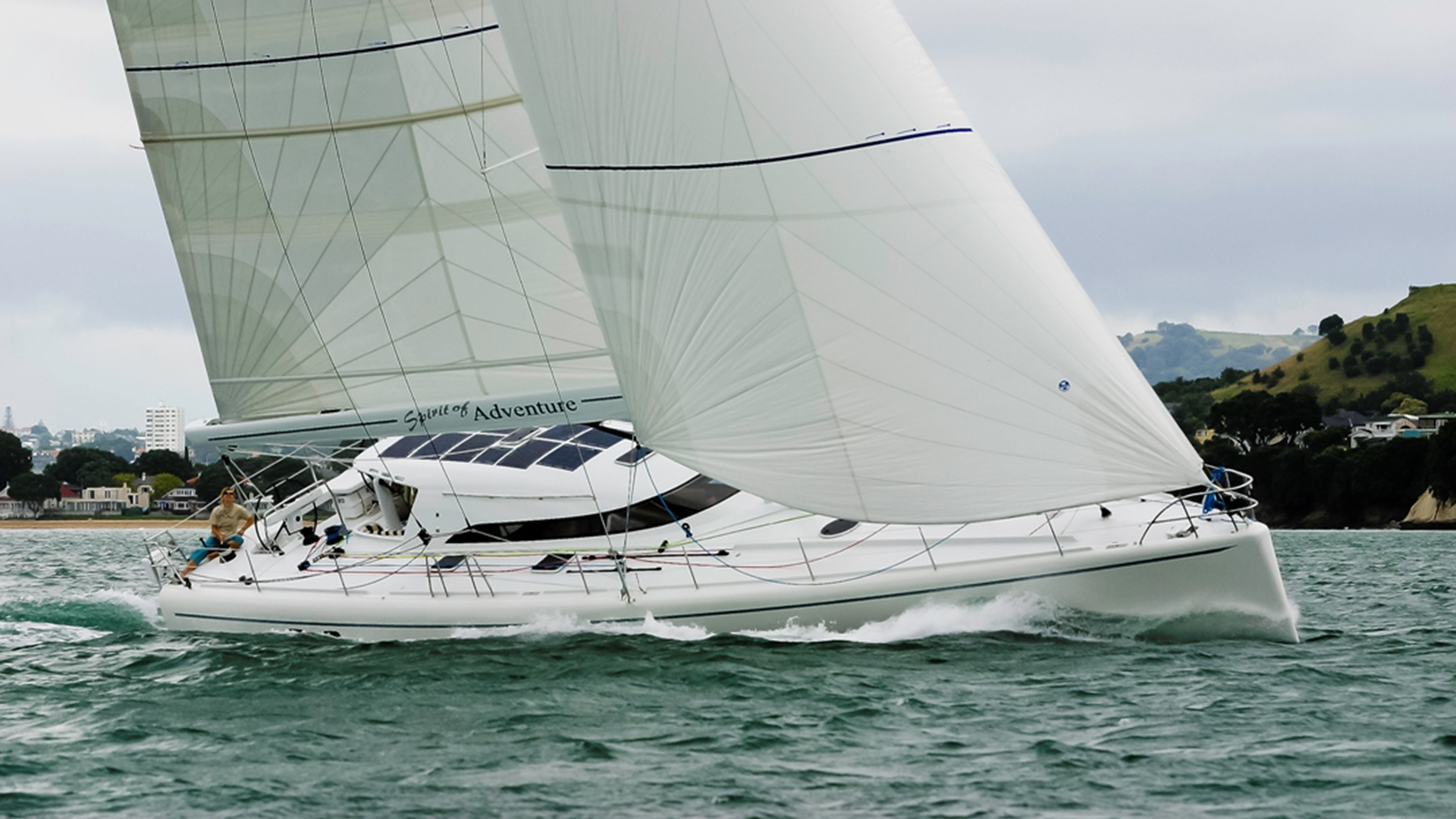 Spirit of Adventure is a lifting keel custom high performance ocean cruising yacht, with the interior and detailing of a mini superyacht. Both exterior lines and the yacht interior design are by lead designer Allen Clarke. SOA is the definition pf style and elegance in a modern cruising sailboat for the 21st century. A luxury custom cruising design for fast ocean cruising.