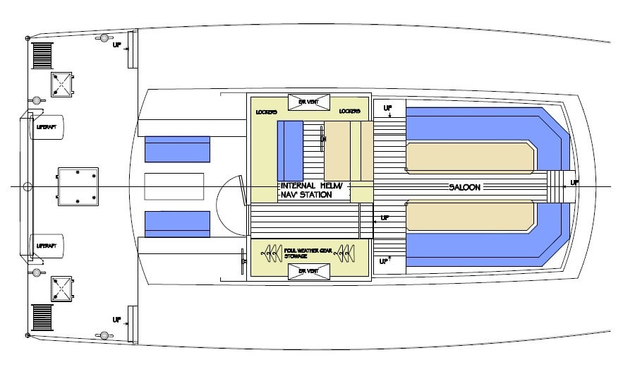 This is drawing of the upper deck of a 25m high latitude motor sailer. The deckhouse is designed as the heart of the vessel with watchkeeping station and upper saloon for work, recreation and dining. Work, because the project began life as a low emissions polar science research sailing yacht specifically designed for operation in the Arctic and Antarctic, before Covid resulted in the project being shelved.