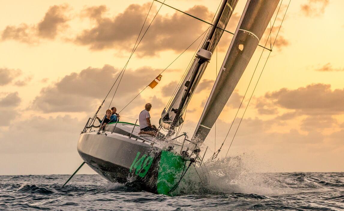This is Hydra, an Owen Clarke Design Class 40 Open racing yacht taking part in the 2018 RORC Transatlantic Race