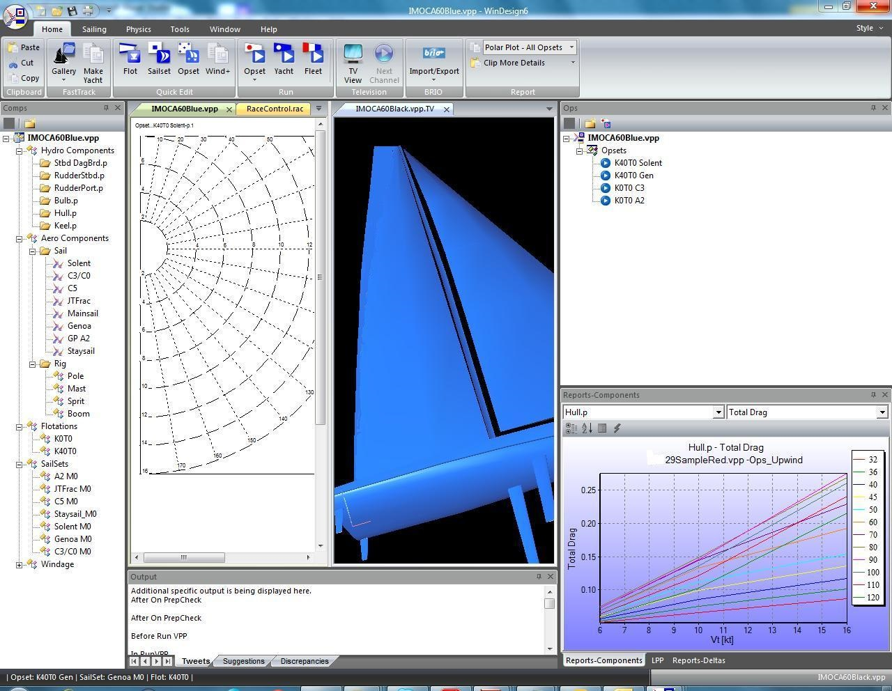 Velocity Performance Prediction software is used particularly in race yacht design to calculate the balance of hydrodynamic and aerodynamic forces thereby predicting the speed of a sailing yacht in a range of conditions. Other outputs include sail, ballast and foil usage crossovers. Recent development in multihull and monohull foiling designs have required the development of more complex dynamic VPPs capable of predicting the effects of motion and trim in order to balance the forces acting on the yacht.