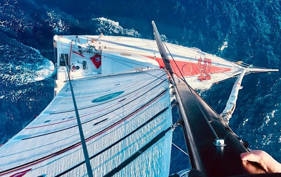 A photo from the masthead of Dragon, a Class 40 during the return leg of the Bermuda 1-2, the premier USA/North America short-handed racing even.  Dragon is an Owen Clarke design from the board of one of the UK's leading racing yacht naval architects and designers