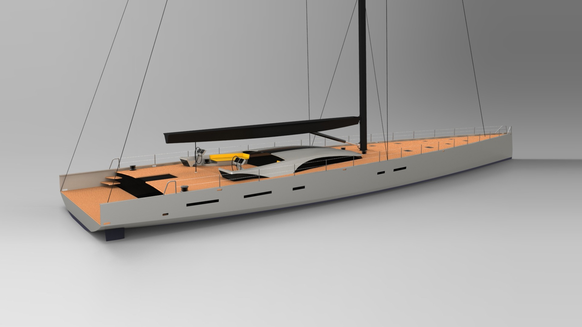 This is a concept design for blue water racer cruiser with a raised deck saloon that maintains the sleek appearance of a Mediterranean day sailer. The sailplan and deck layout are optimised for the ORCsy superyacht racing rule and the yacht is designed for an owner to cruise and take part in bucket and racing and superyacht regattas.