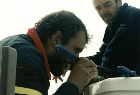 Author, in the Southern Ocean during the 96/97 BT Global Challenge repairing the broken forestay mid way between Cape Horn and New Zealand. Never give up...most of the time there's someting that can be done.