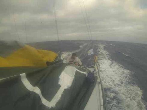 Mike Gascoyne and Brian Thompson completed a big repair on their mainsail during the race. Moisture, salt and modern sail materials make lasting repairs dfficult - you need to have the right kit aboard.