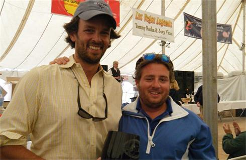 Co Skippers Alex Mehran (left) and Nick Halmos (right) collecting the S Division first place trophy at the 2009 Figawi
