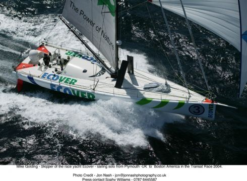 Ecover jumps the wave - high speed sailing under spinaker.