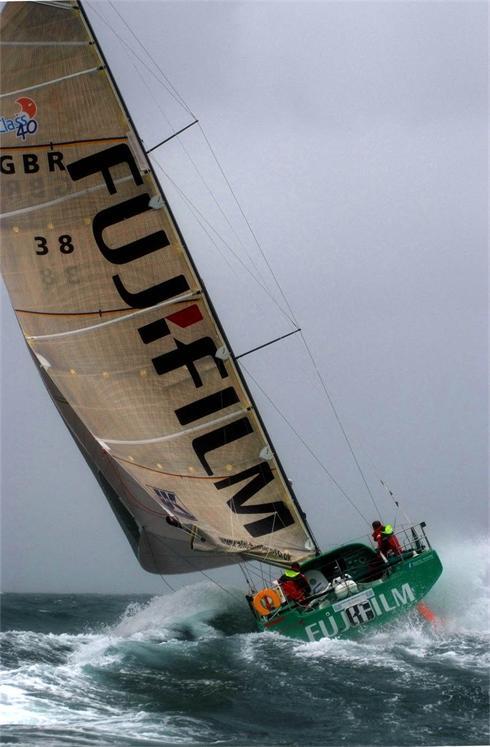 Alex Bennett and Malcolm Dickinson aboard Fujifilm
