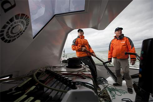 Bruno Dubois and Mike Golding in the new cockpit of Gamesa... photo Mark Lloyd