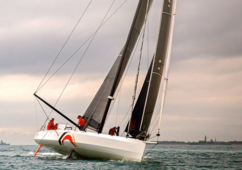 Offshore Team Germany IMOCA 60 sailing with her new ballast tanks and deck spreader rig by designers Owen Clarke Design