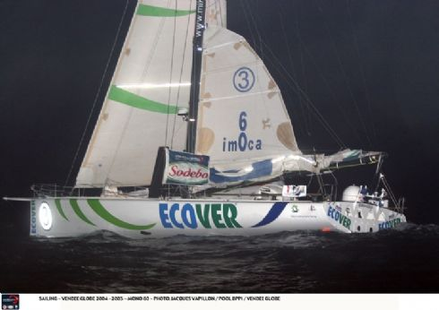 Ecover crosses the finishing line third in the Vendee Globe, 22 hours behind second place Bonduelle and 28 hours behind winner PRB.