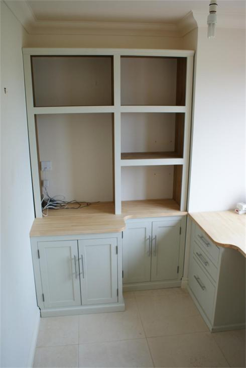 Home office full wall unit to house large wax printer and box files.