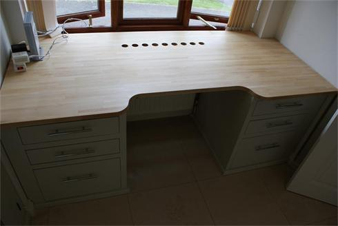 Home office desk unit, solid beech top, filing drawers to each side.