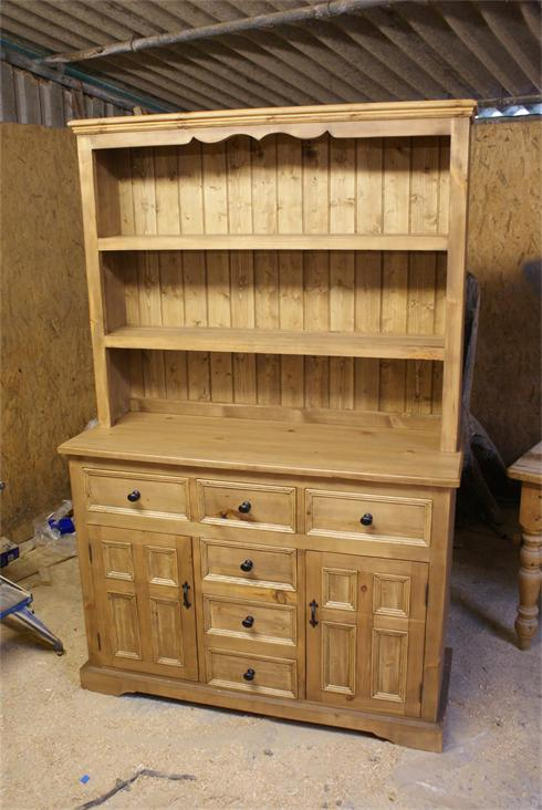 6'6' x 5'6' dresser made from reclaimed pine, four panel doors and beaded drawers.  £1450