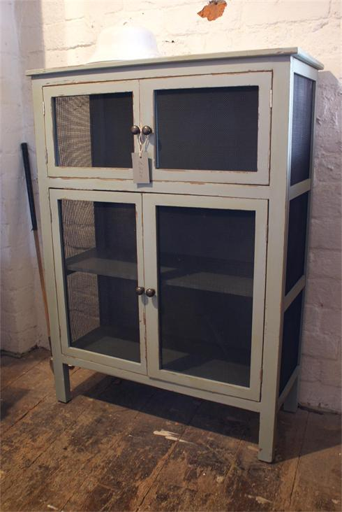 French style kitchen cupboard with wire mesh sides and doors
