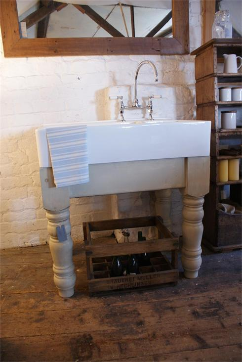 free standing kitchen sink unit with large belfast twin sink.