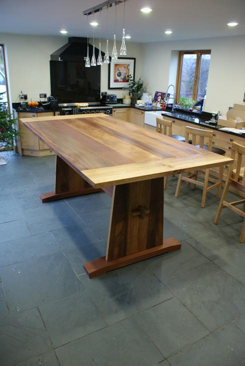 8' x 4' mixed hardwood dining table. Oak, Iroco and Mahogony.