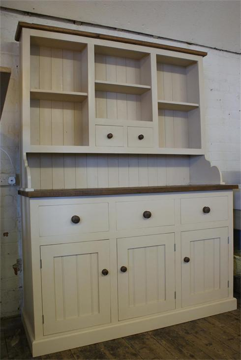 7' x 5'6' Painted Dresser with Reclaimed pine work surface and cornice detail.