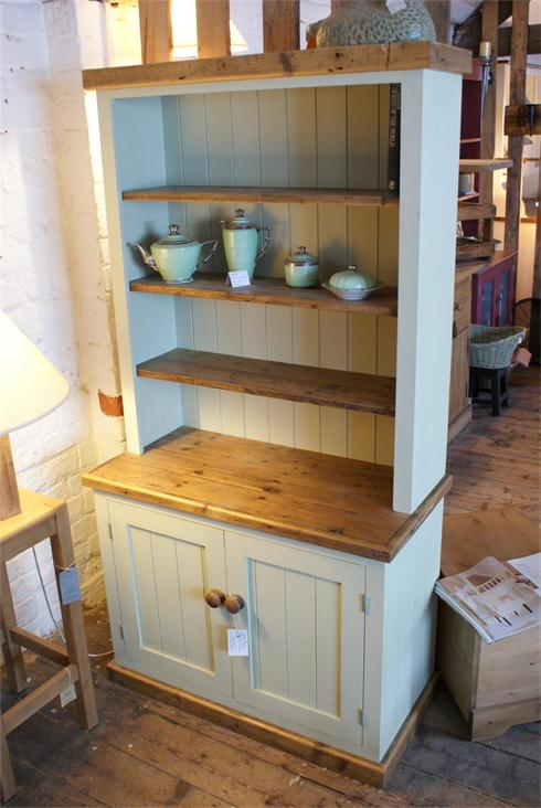 6'x2'6' dresser, painted green with reclaimed pine worktop, shelves, plinth and cornice detail. Two door / no drawer configuration.  £820