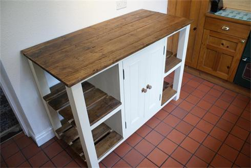 Kitchen Island Unit with reclaimed pine top and shelves.