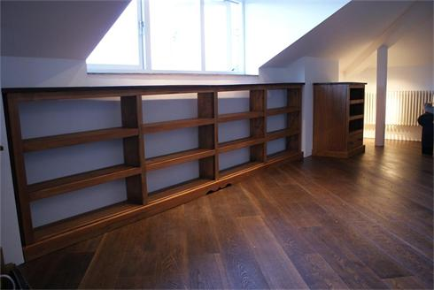 12' Long Pitch Pine bookcase and matching A/V unit.